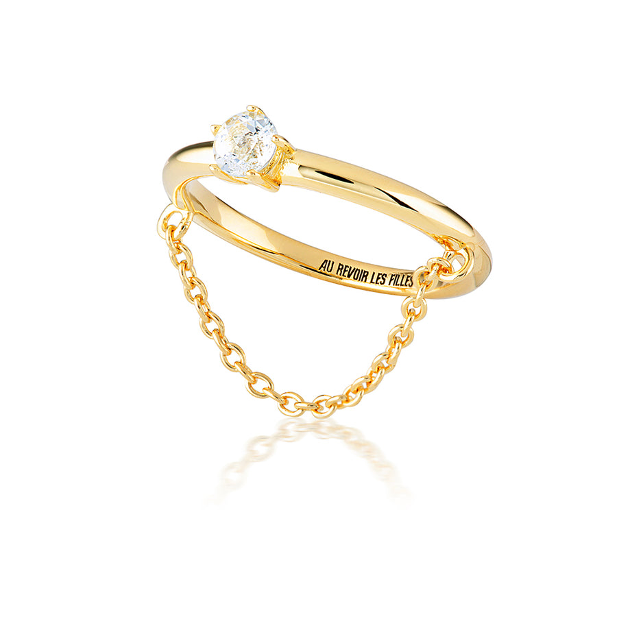 diamond chain ring in 14k gold with brilliant sparkly facets that reflect the light - re-designed from a modern Tiffany solitaire engagement ring with a fine chain that drapes beautifully across the finger