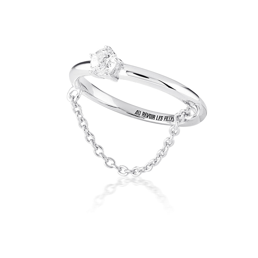 brilliant diamond chain ring in sterling silver - perfect for the modern minimalist who loves minimal silver jewellery and rings