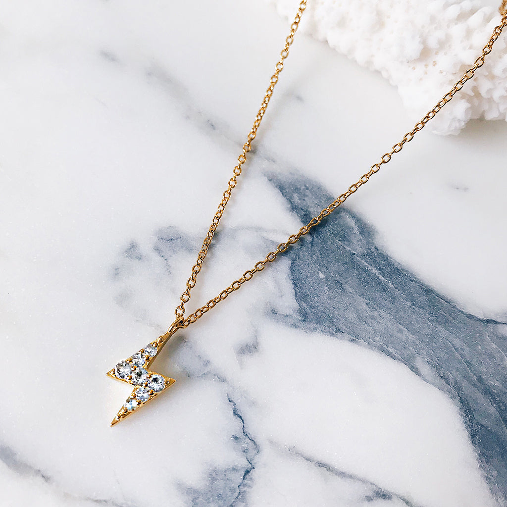 Lightning Bolt Diamond Gold Necklace | Womens Affordable Fine ...