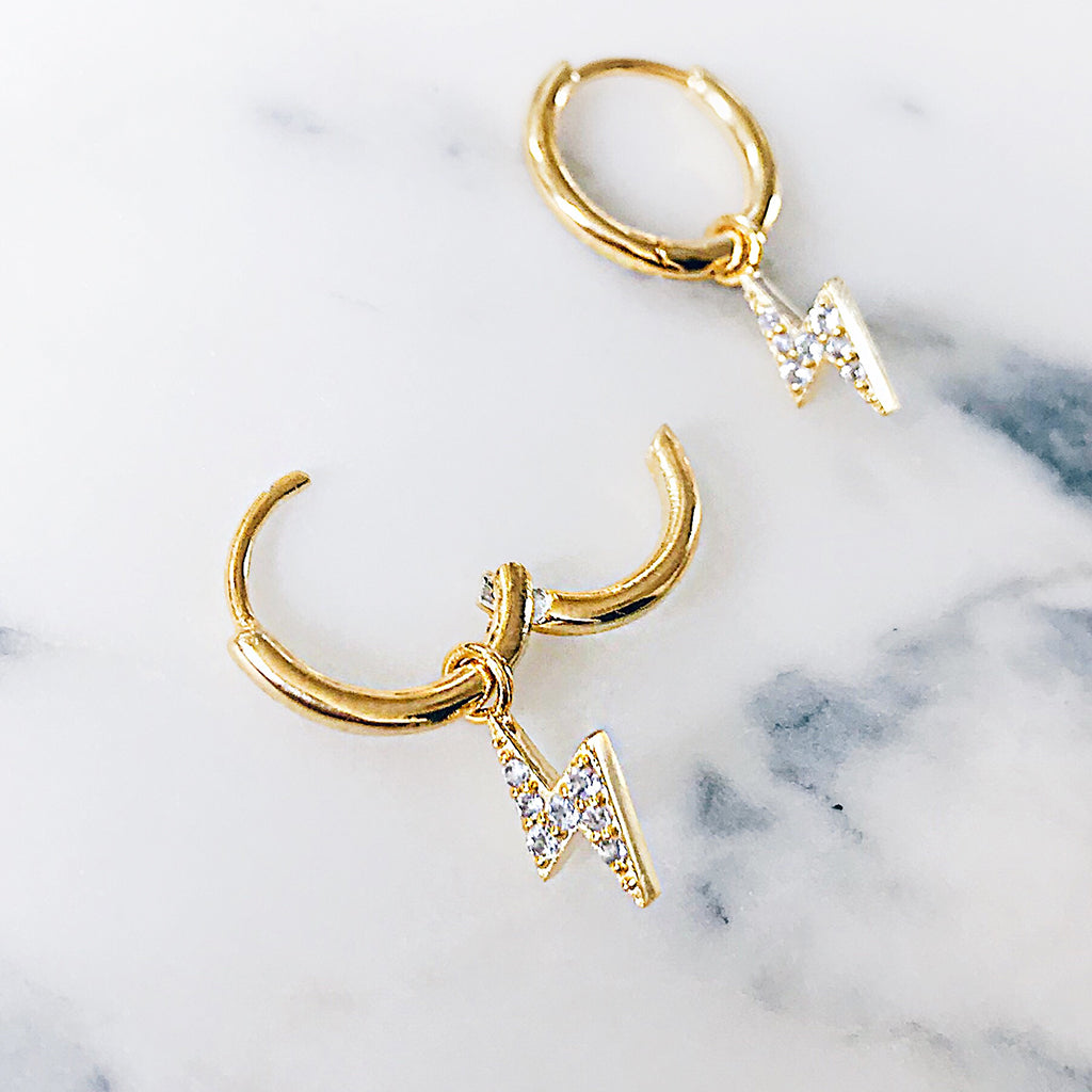 easy to wear ear hoops - lightning bolt gold hoop earrings with sparkling diamonds open and close easily, so you can wear or take off with ease, no more fiddling