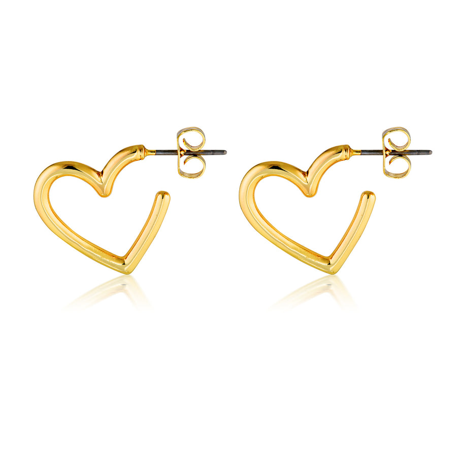 heart hoops gold heart hoop earrings