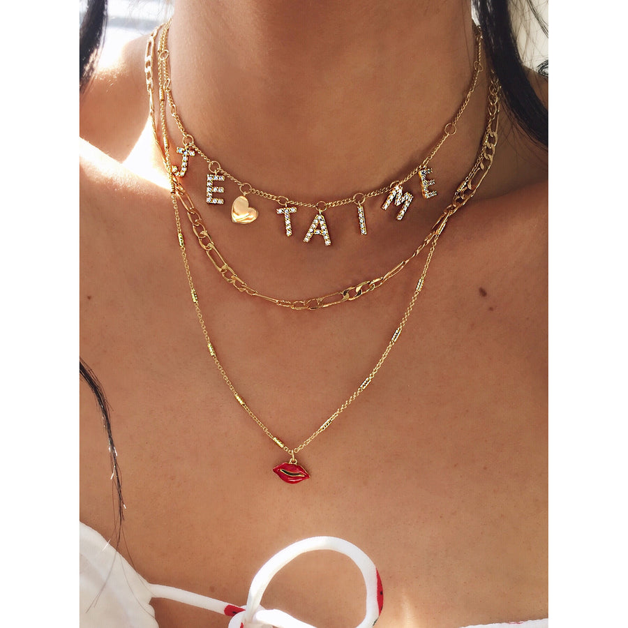 Lip necklace in red and gold. Wear with cute red sundress for a gorgeous summer look