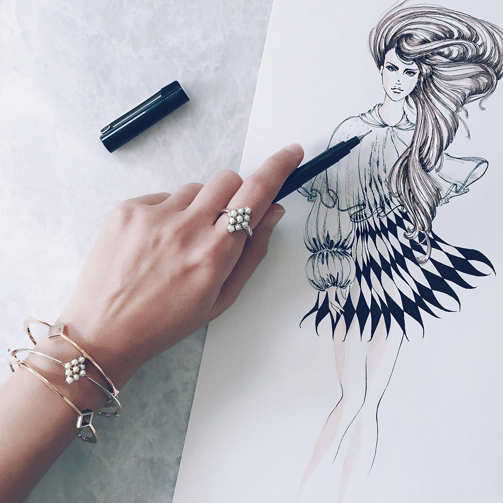 pearl bangles silver gold stacking pearl bracelet pearl ring fashion illustration jewellery sketch jewelry sketchbook