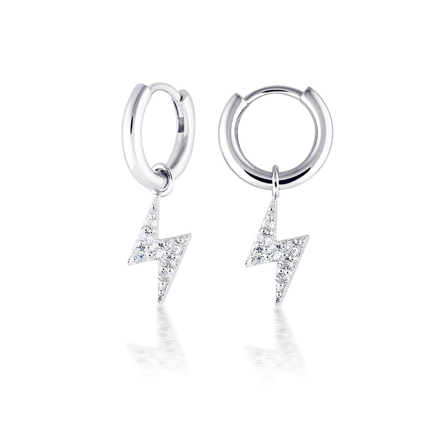 silver ear hoops lightning bolt diamond pave hoop earrings hypoallergenic earring trend minimal womens jewellery