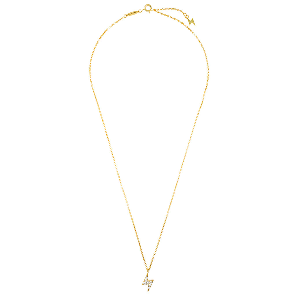 Lightning bolt diamond gold necklace womens affordable fine lariat drop necklace with lightning bolt diamond pendant and gold lightning bolt charm mozeypictures Image collections