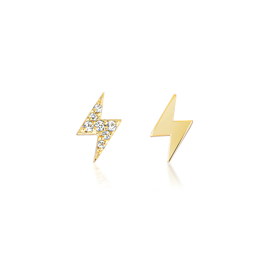 lightning bolt earrings studs in gold with diamonds. sparkling pave ear studs that are perfect gifts for xmas and the festive season.
