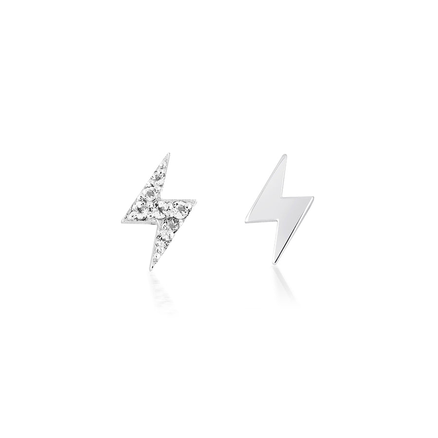 lightning bolt earrings pave studs with diamonds in sterling silver and rhodium. shop for womens jewellery and earrings