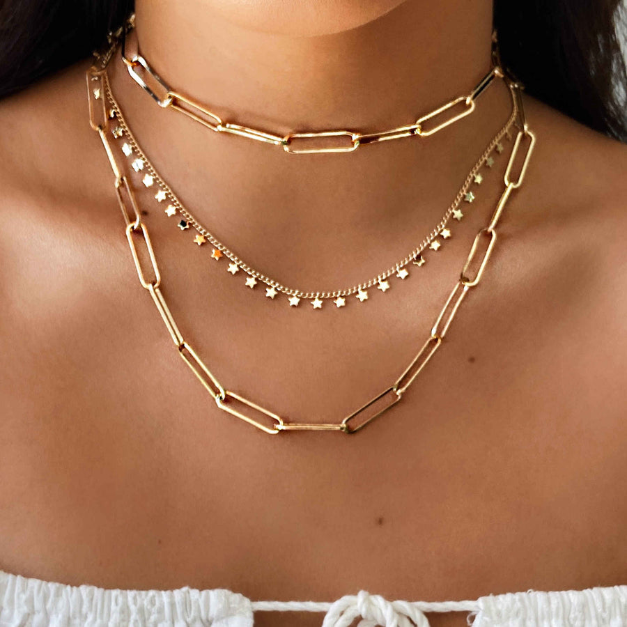 Star choker gold. Layered necklaces stacking jewellery Australian jewellery brand