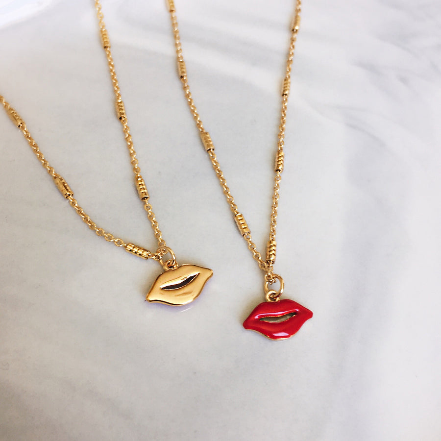 Lip necklace in red and gold. Reversible necklace design