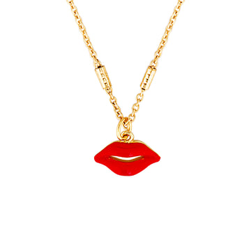 Lip necklace in red and gold.