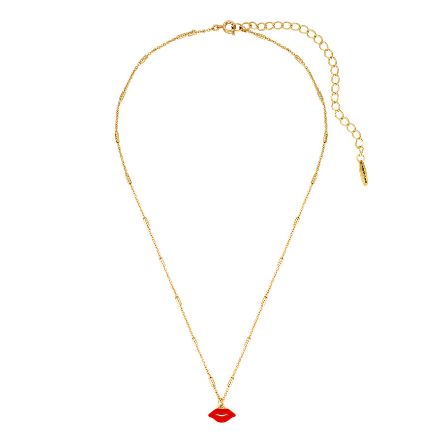 Lip necklace in red and gold