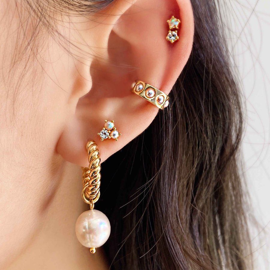 Australian white opal, pearl, diamond ear studs. Mismatched gold studs.