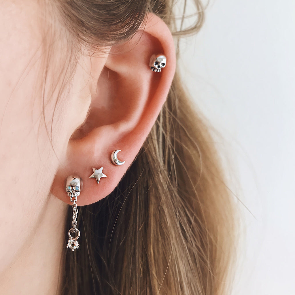small skull stud earrings sterling silver stack with 925 silver star moon ear studs and opal skull dangling earrings