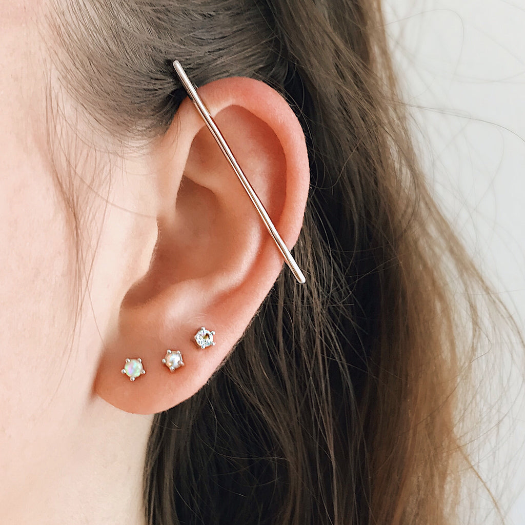 ear cuff bar sterling silver minimal bar earring