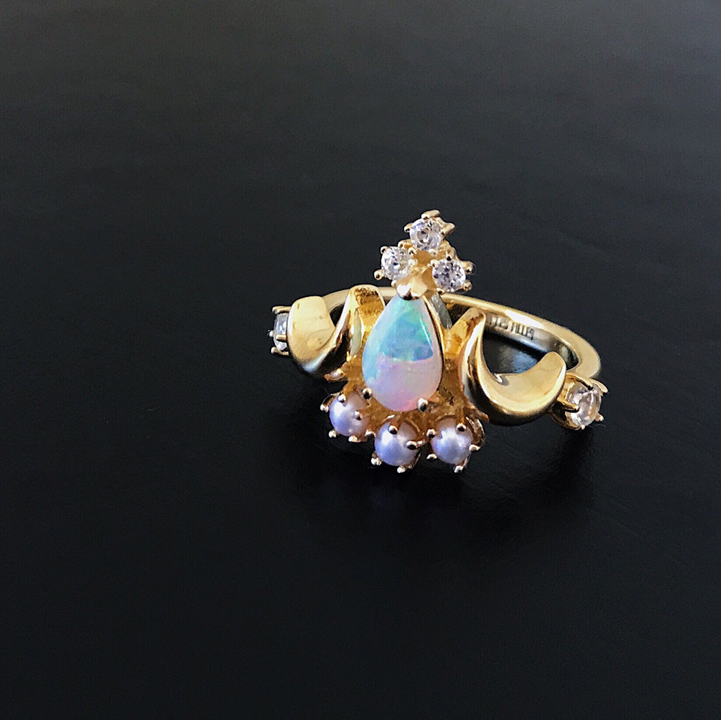pearl gold pendant opal seed pearls pin vintage cross