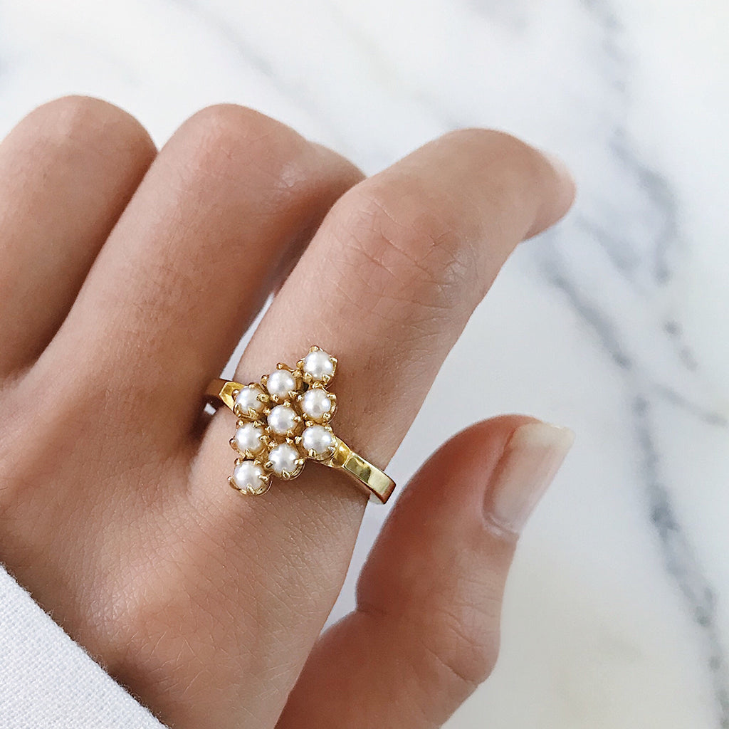 gold pearl cluster cocktail ring inspired by my mother's vintage antique pearl ring