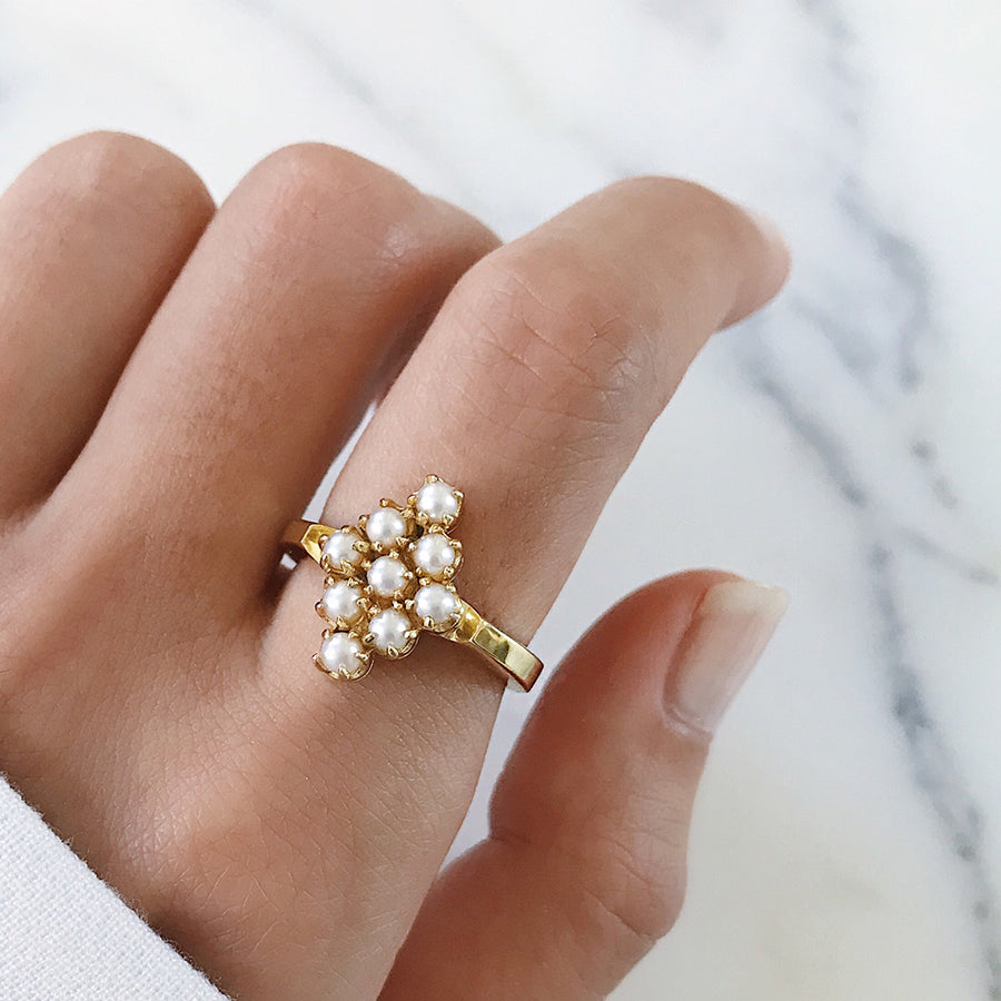 Heritage Pearl Cluster Ring | Diamond Shape | 14k Gold Classic Timeless womens jewellery cocktail ring