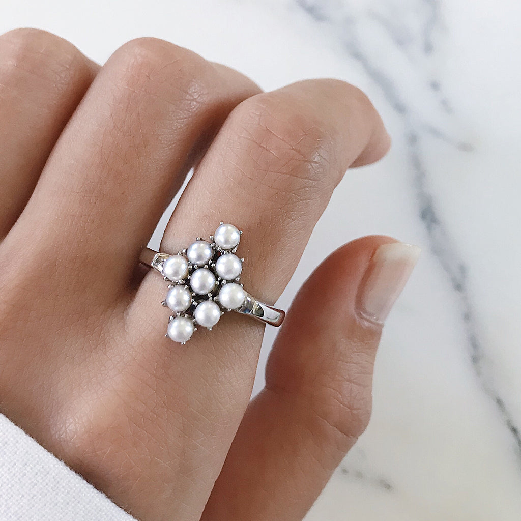 pearl ring - sterling silver - pearl cluster ring diamond shape - elegant classy vintage antique ring - womens fine jewellery