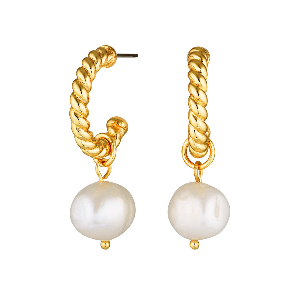 detachable pearl ear hoops gold twisted rope gold hoops