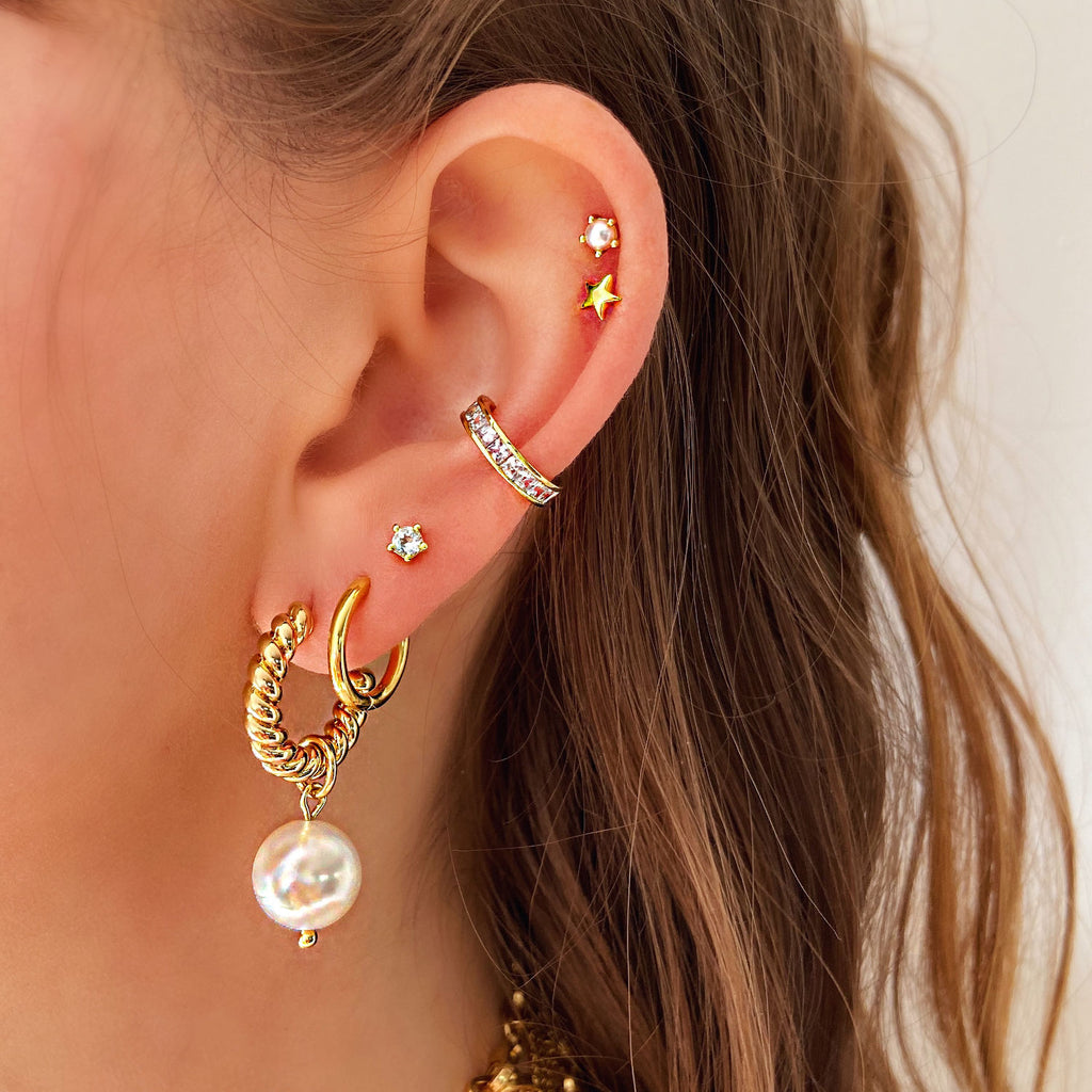 diamond ear cuff gold