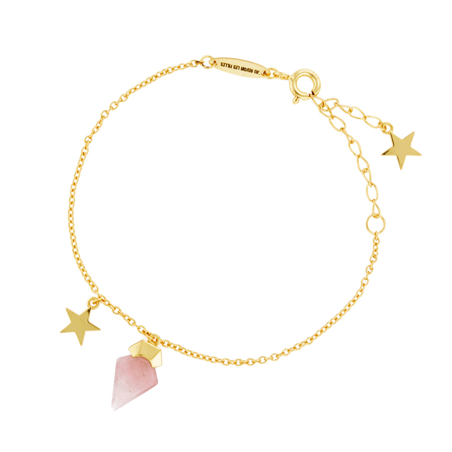 Rose Quartz Bracelet 14k Gold Star Fine Jewellery Great Everyday Piece. Perfect for Layering. Eros necklace, God of love. Rose quartz meaning - symbolises love, romance and affection, perfect for the hopeless romantic. Great gift for Valentine's Day for wife or girlfriend. Womens fine bracelets. Rose quartz jewellery.