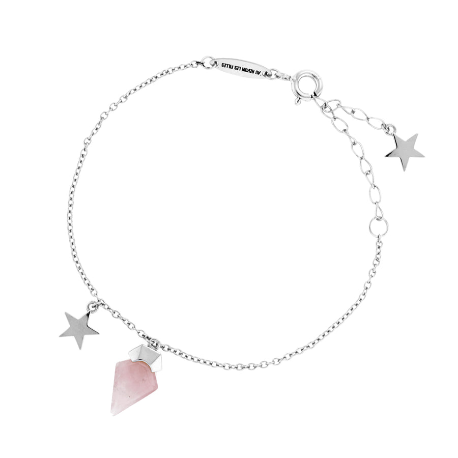 Rose Quartz Bracelet Sterling Silver Star Fine Jewellery Great Everyday Piece. Perfect for Layering. Eros necklace, God of love. Rose quartz meaning - symbolises love, romance and affection, perfect for the hopeless romantic. Great gift for Valentine's Day for wife or girlfriend. Womens fine bracelets. Rose quartz jewellery.