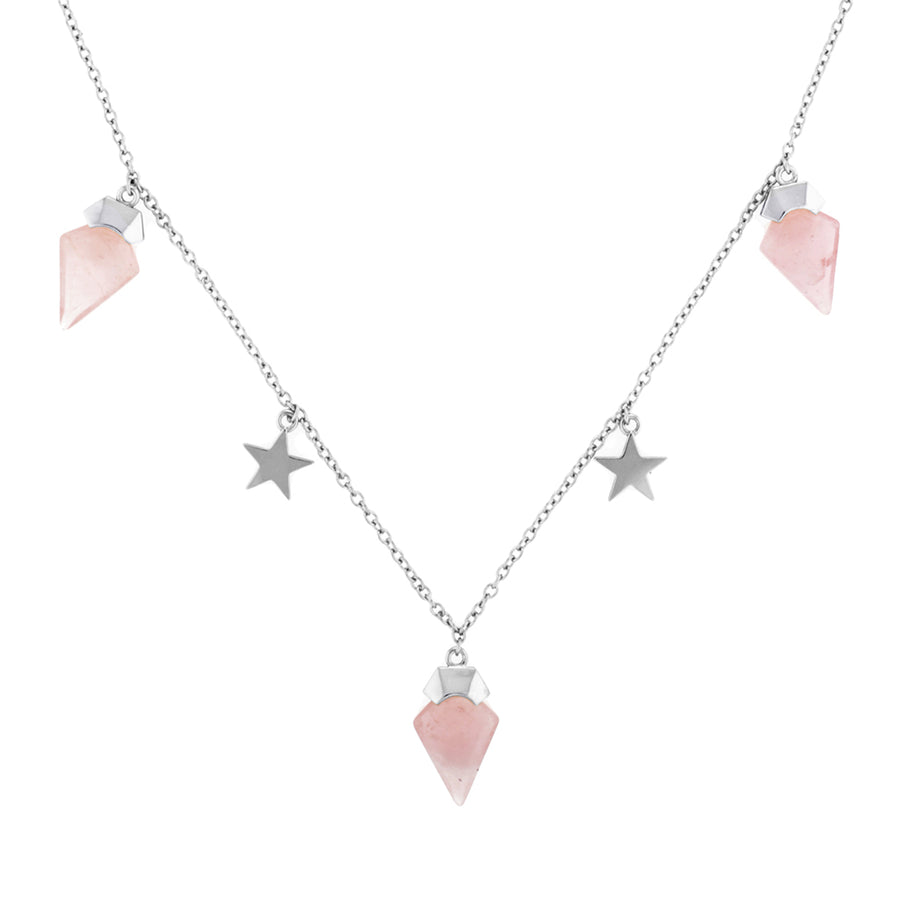 Rose Quartz Choker Star Necklace. Sterling Silver. Perfect for Layering. Eros necklace, God of love. Rose quartz meaning - symbolises love, romance and affection, perfect for the hopeless romantic. Great gift for Valentine's Day for wife or girlfriend. Womens affordable fine jewellery. Rose quartz jewellery. Fine chain choker.