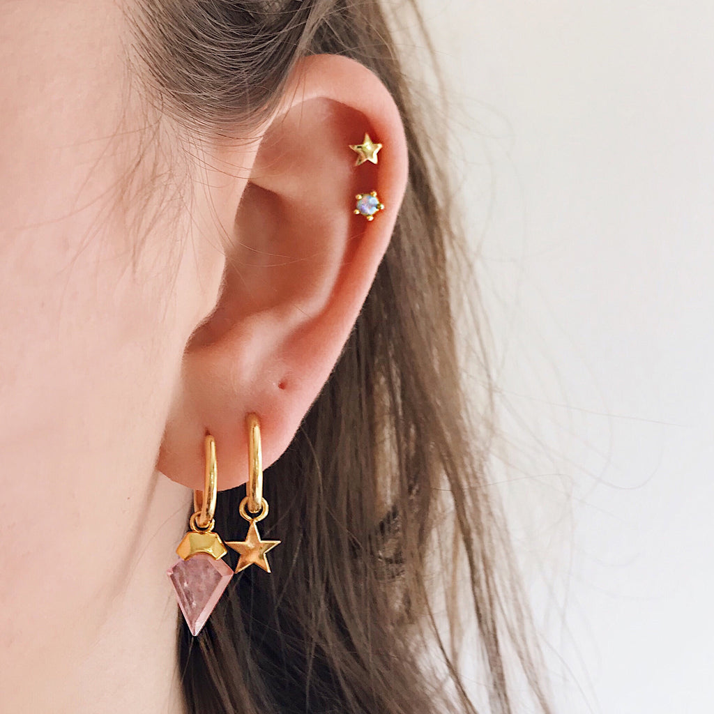star moon hoop earrings 14k gold hoops rose quartz opal earring from Australia
