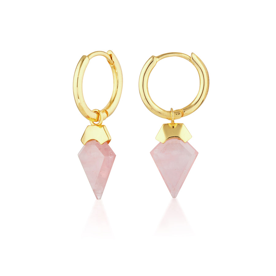 Rose Quartz Hoop Earrings Ear Hoops 14k Gold Sterling Silver Hypoallergenic. Eros Ear Hoops, God of love. Rose quartz meaning - symbolises love, romance and affection, perfect for the hopeless romantic. Great gift for Valentine's Day for wife or girlfriend. Womens affordable fine jewellery. Rose quartz jewellery and earrings.