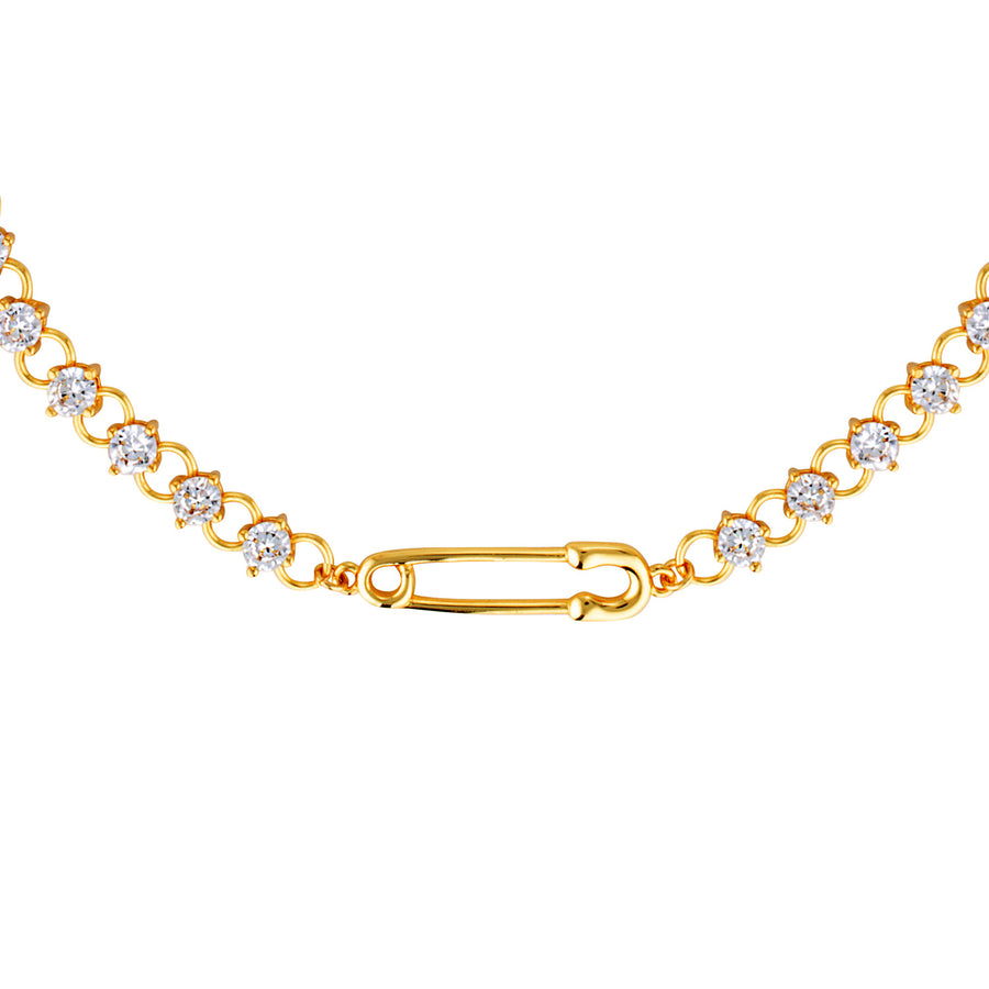 safety pin diamond necklace gold choker