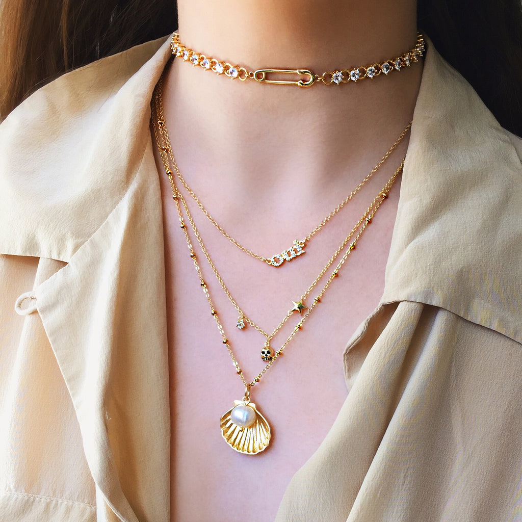 seashell pearl necklace gold layered necklaces