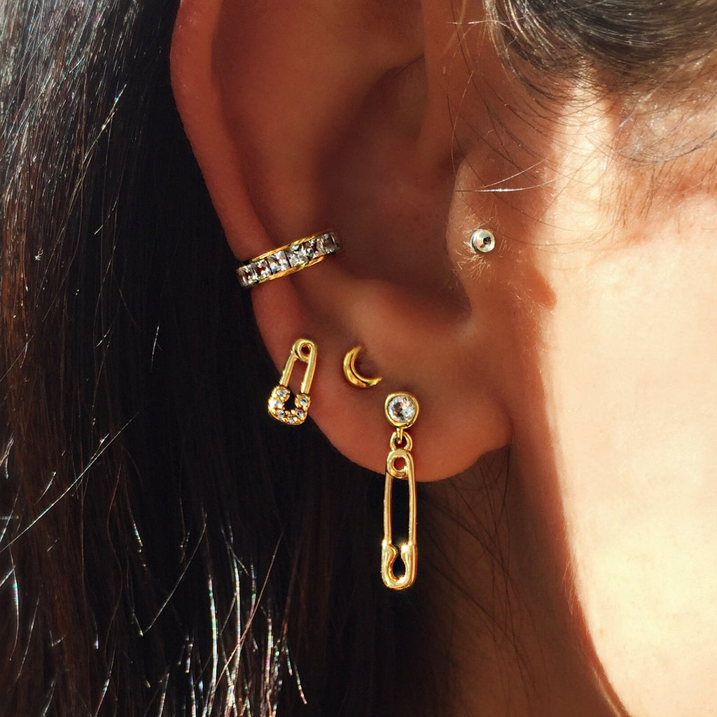 safety pin diamond earrings gold mismatched studs womens jewellery Australian designer jewellery brand