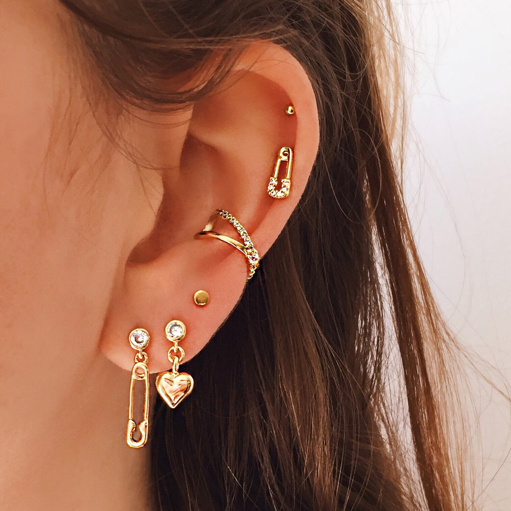 safety pin heart earrings gold mismatched earrings