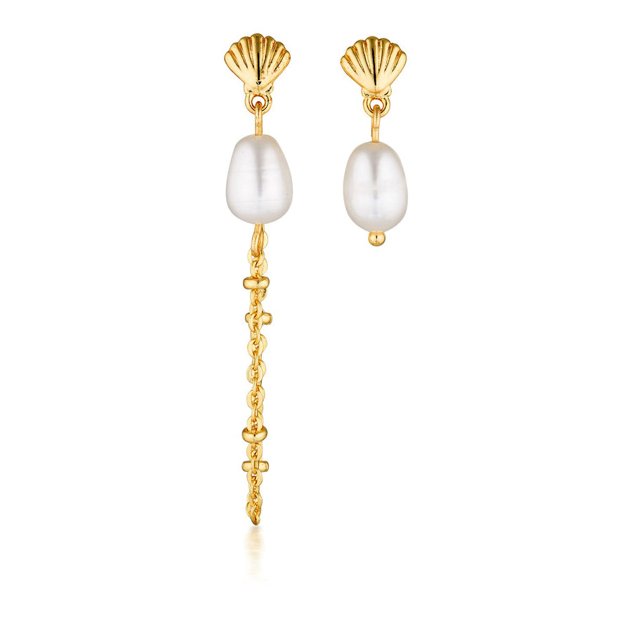 shell pearl earrings gold mismatched dangling earrings
