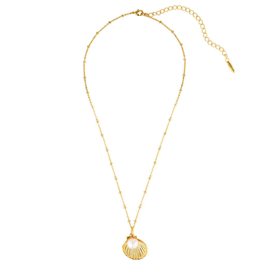 shell pearl necklace gold