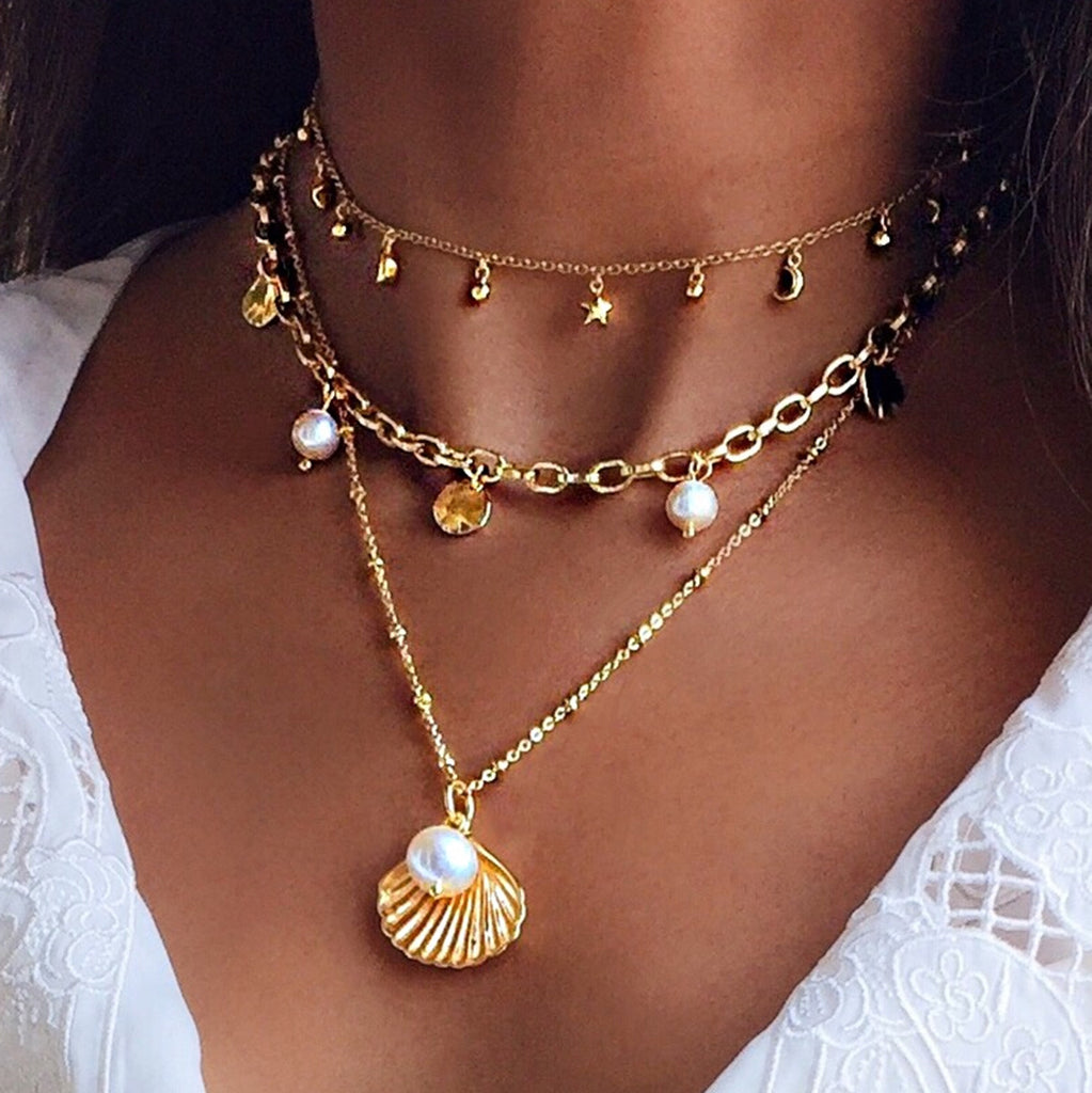 shell pearl necklace gold layered necklaces