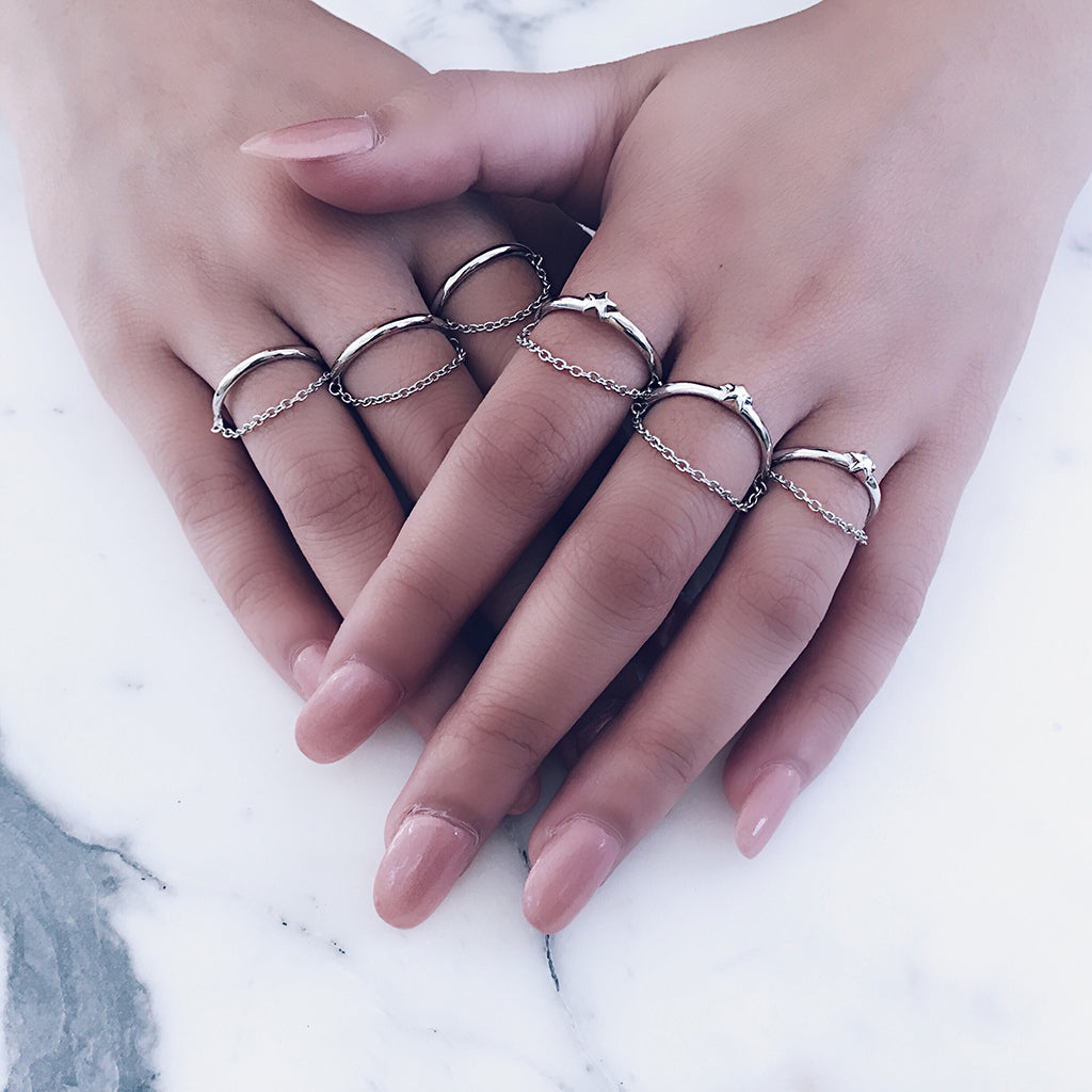 fine slim stacking silver rings with dangling chain - stylish trendy star moon simple rings that can be stacked with one another, comes with a fine chain that adds a lovely detail when worn in multiples