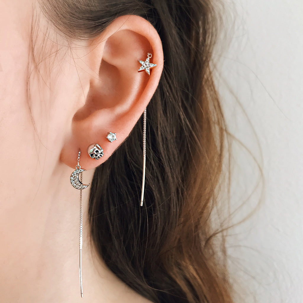 small skull stud earrings sterling silver stack with 925 silver star moon threader earrings diamond pave threaders