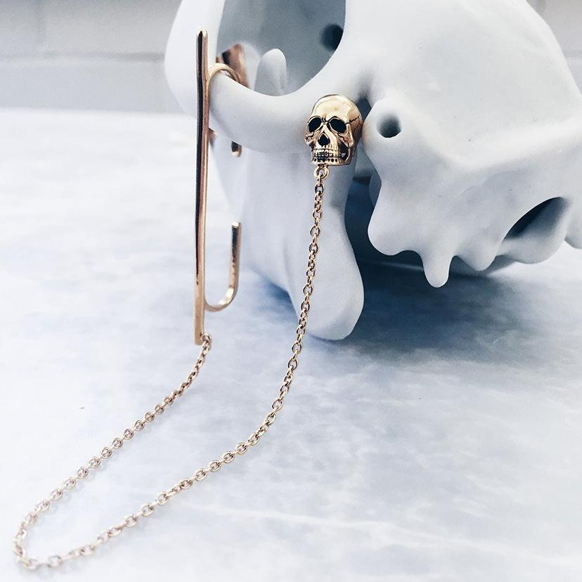 gold skull ear cuff with fine chain