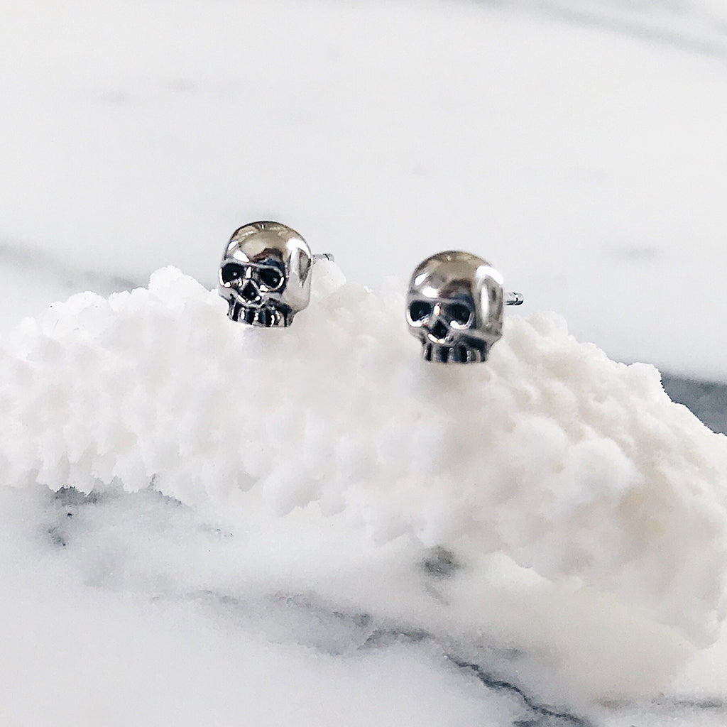 small skull stud earrings sterling silver. Solid 925 silver gothic skull skull studs jewellery