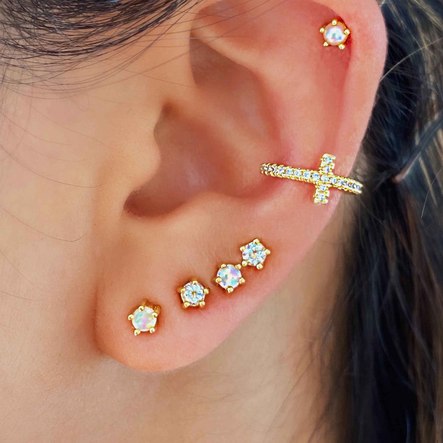Cross ear cuff. Stacked earrings Australia