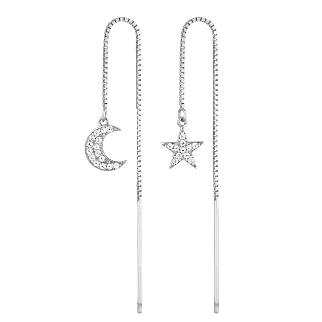 Star Moon Diamond Thread Earrings Sterling Silver Pave Dangle