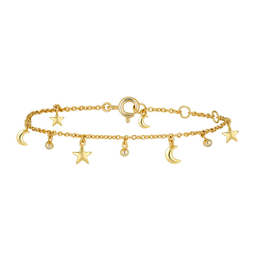 Star moon fine charm bracelet in gold with tiny beads, perfect for layering. Affordable fine jewellery
