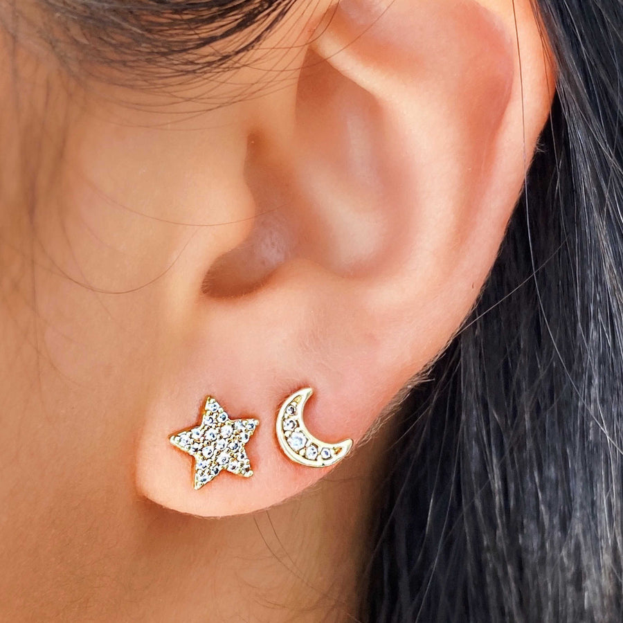 Star moon mismatched studs. Stacking earrings. Australian jewellery brand
