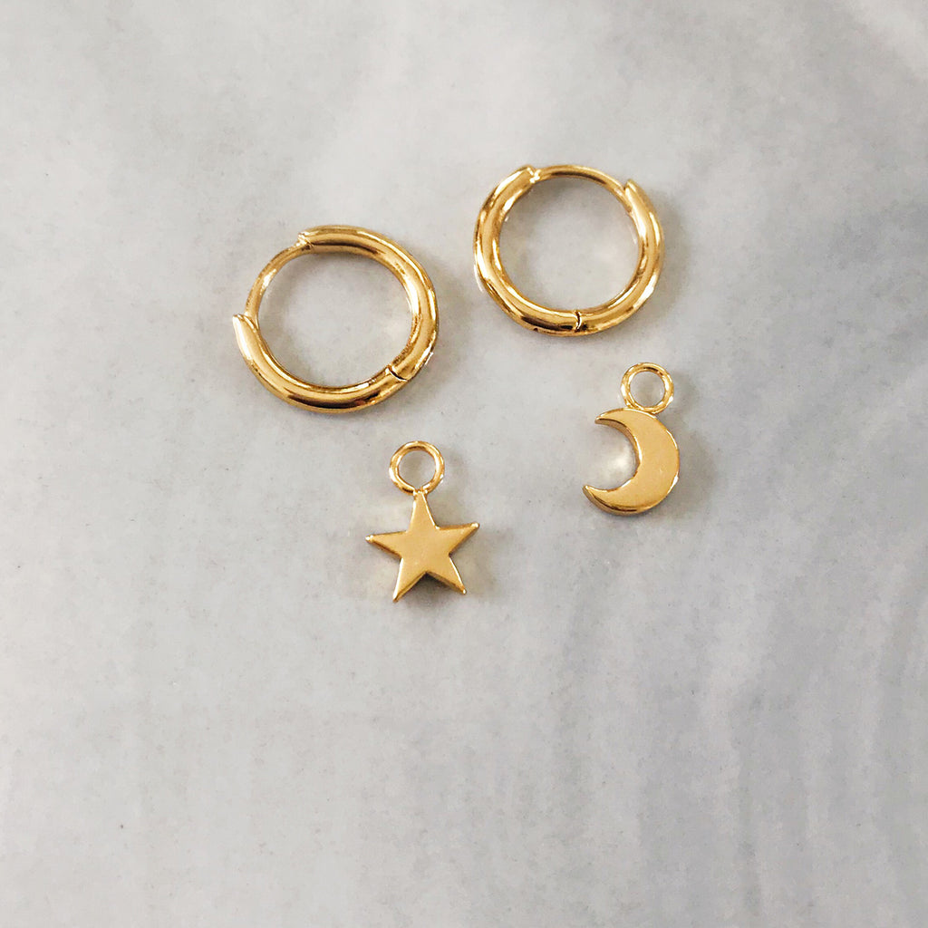 star moon hoop earrings gold huggies small huggie