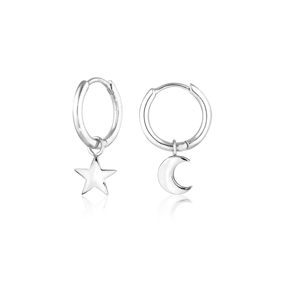 star moon huggies sterling silver huggie earrings Star Moon Ear Hoops. Womens Hoop Earrings. Hypoallergenic. Modern, beautiful hoop earrings adorned with a beautiful star and moon. Gold hoops to love, the perfect earring trend. A great everyday jewellery piece. Sterling silver with 14k gold. Perfect for sensitive ears and ear piercings. Easy to wear and remove.