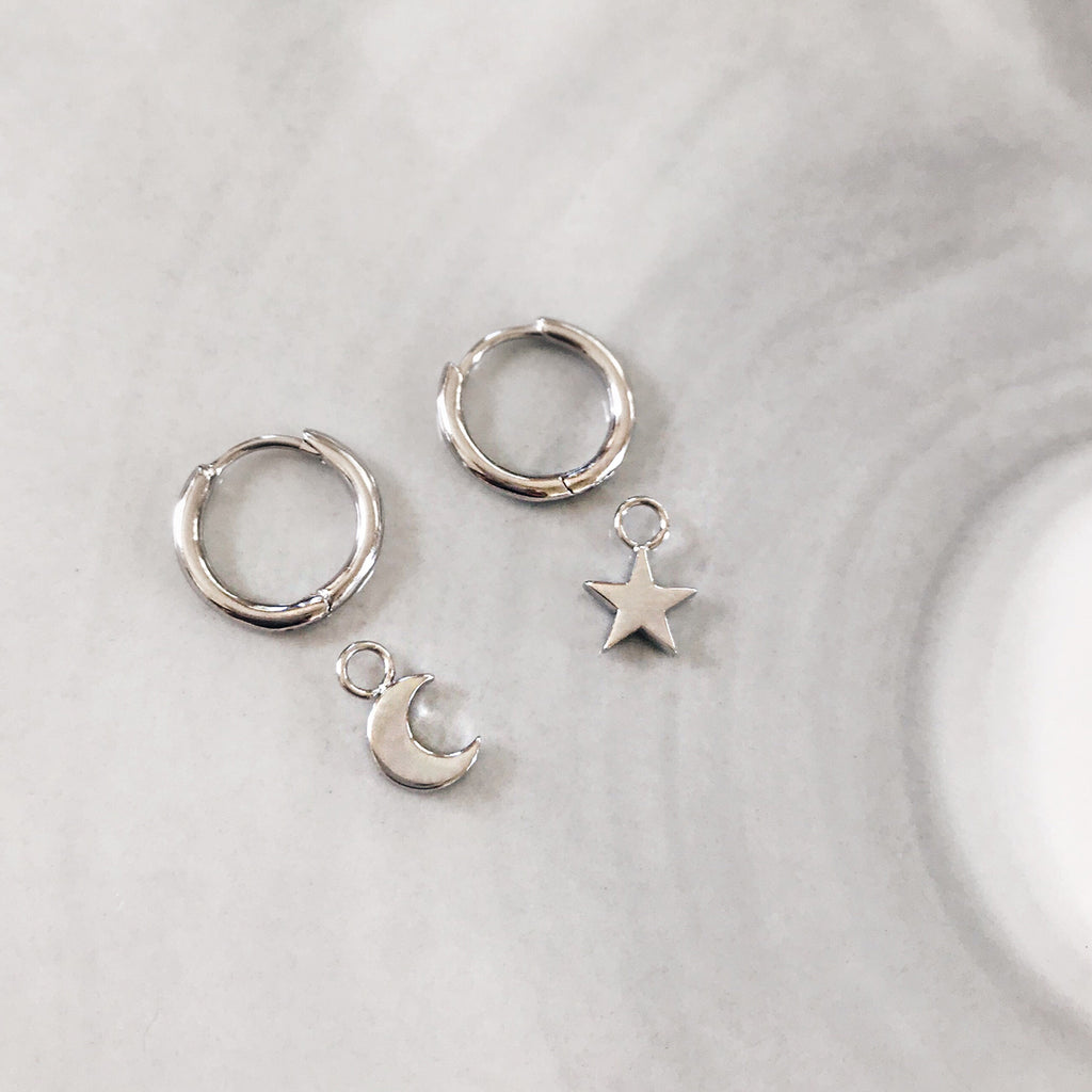 star moon huggies sterling silver huggie earrings