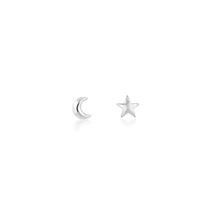 tiny star moon silver earrings studs in a micro small size - hypoallergenic and great for sensitive ears and ear piercings - simple earring design, classic, fun and playful. minimal womens jewellery trend, great as gifts for sister, nieces, little girls, daughters, best friend, girlfriend. perfect present for christmas, valentine's day and birthdays