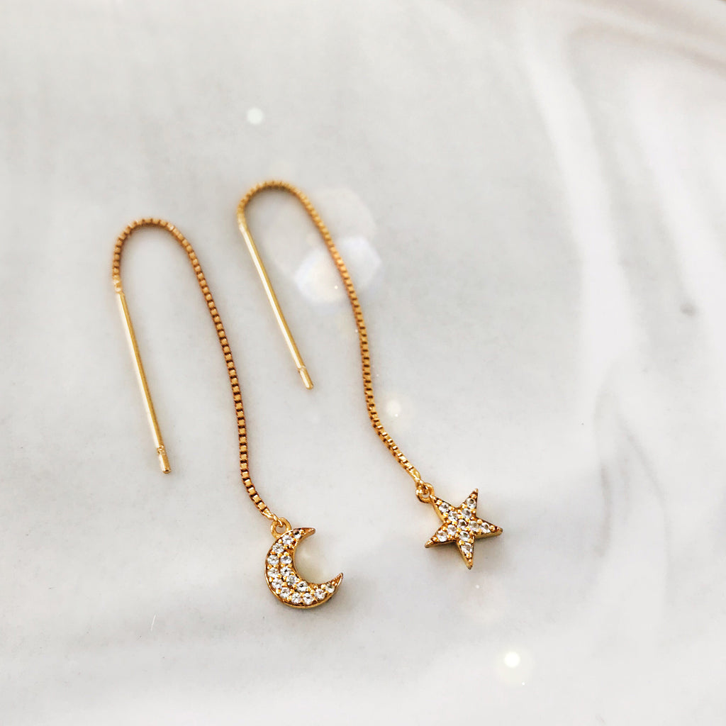 star moon threader earrings 14k gold diamond pave thread dangling drop earrings Australian designer jewellery
