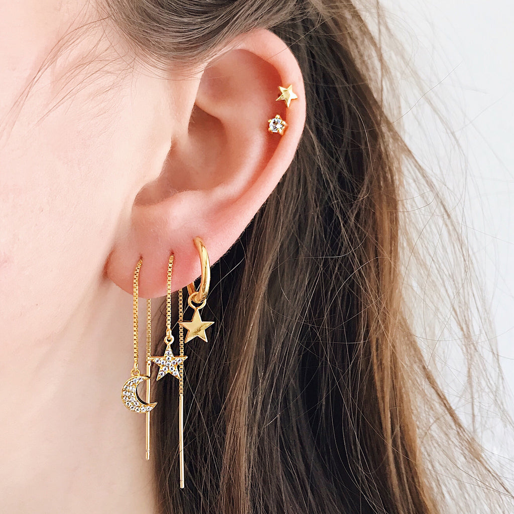 star moon hoop earrings 14k gold hoops star moon threaders diamond pave thread earrings dainty jewellery from Australia jewellery brand